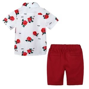 Other - Red 2 piece Boys Print Floral Set